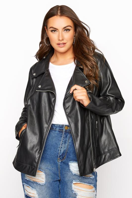 Großen Größen  Black Faux Leather Jacket