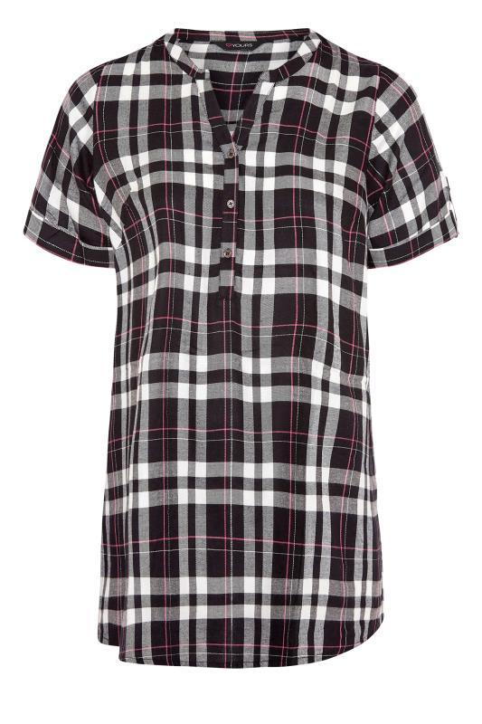 Black Grown On Sleeve Check Shirt_F.jpg