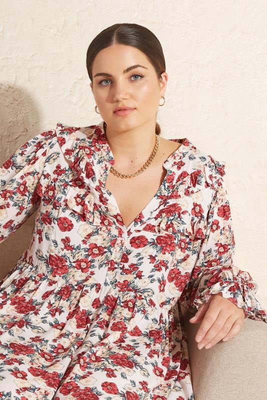 THE LIMITED EDIT Cream Floral Frill Smock Maxi Dress_L1.jpg