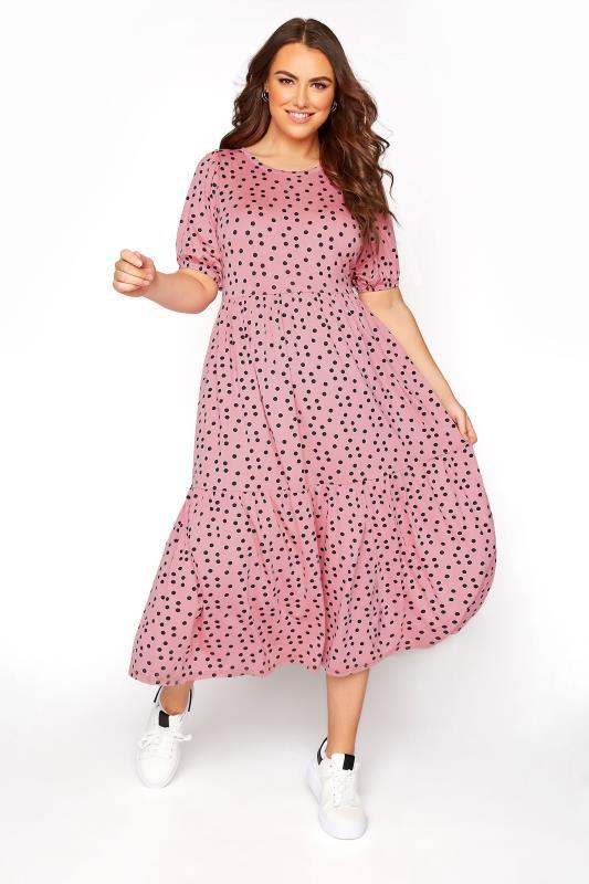 Plus Size  Pink Spot Print Puff Sleeve Midaxi Dress