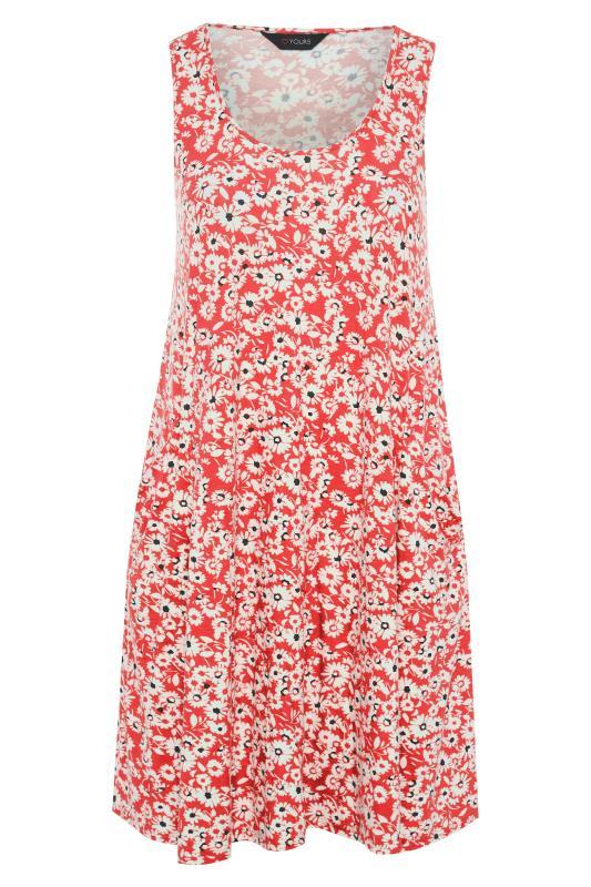 Coral Floral Sleeveless Drape Pocket Dress_F.jpg