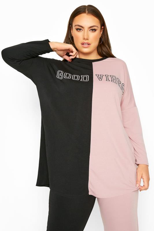 Plus Size  Black & Pink Contrast 'Good Vibes' Co-ord Sweatshirt