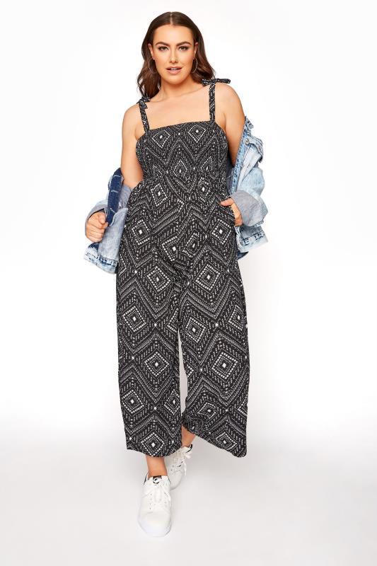 Großen Größen  Black Aztec Shirred Bardot Jumpsuit