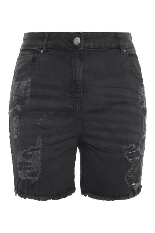 Washed Black Ripped Denim Mom Shorts_F.jpg