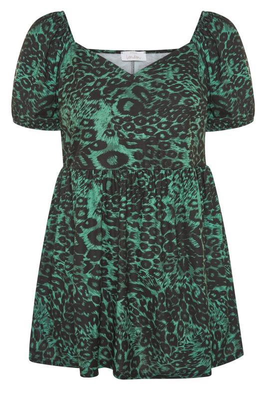 YOURS LONDON Green Animal Print Peplum Top_F.jpg