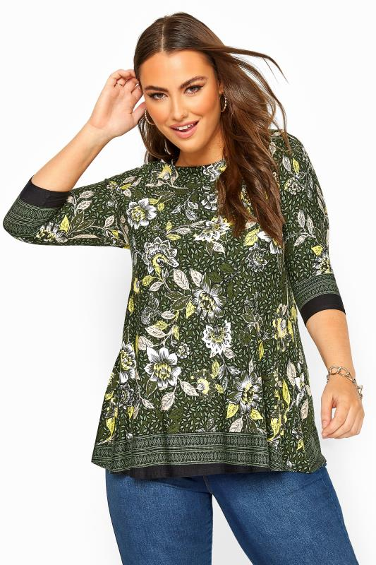 Plus Size Casual / Every Day Green Floral Print Jersey Swing Top