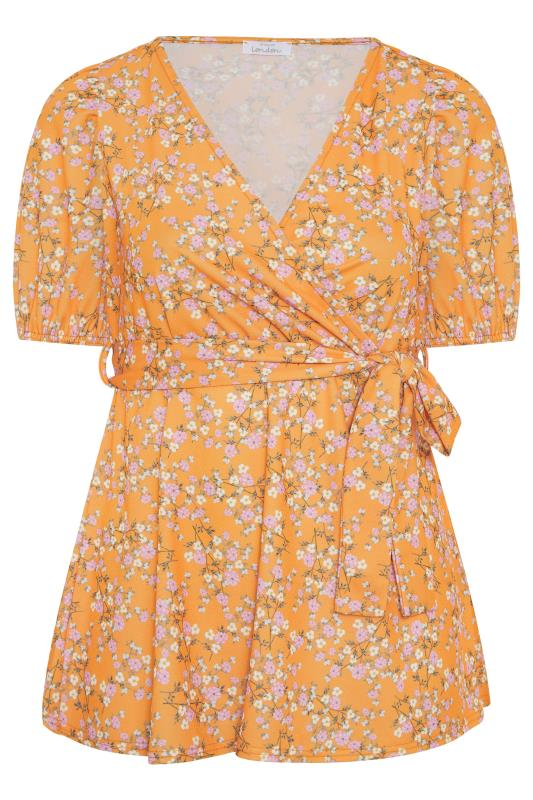 YOURS LONDON Orange Ditsy Floral Puff Sleeve Wrap Top_F.jpg