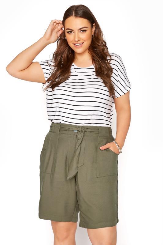 Plus Size  Khaki Belted Shorts