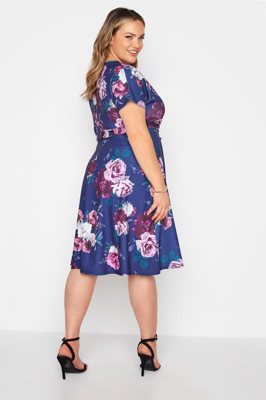 YOURS LONDON Blue Floral Rose Skater Dress_C.jpg