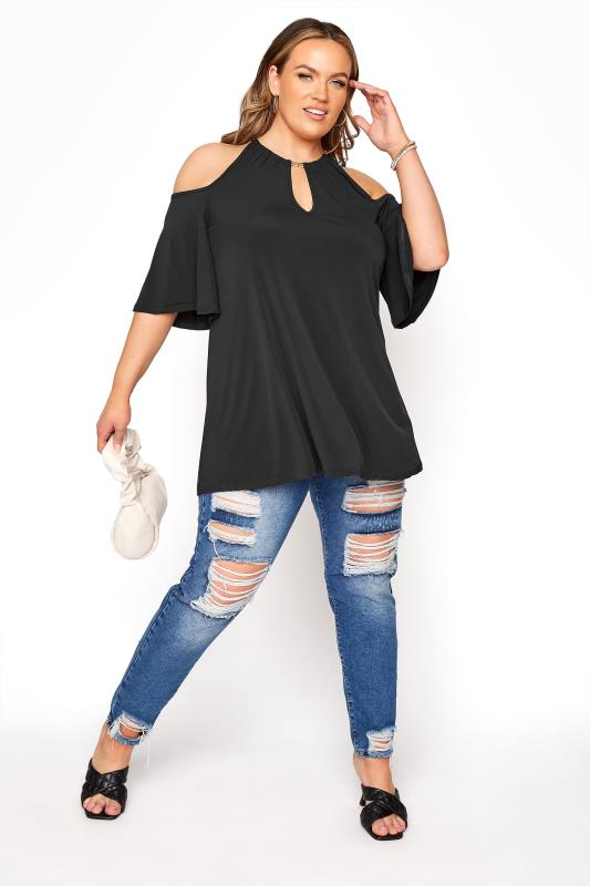 YOURS LONDON Black Chain Cold Shoulder Top