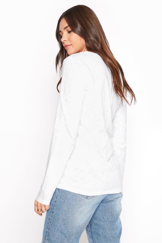 White Cotton V-Neck Long Sleeve Top_C.jpg
