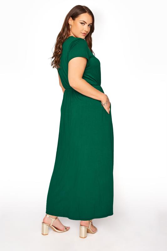 YOURS LONDON Forest Green Pocket Midaxi Dress_C.jpg