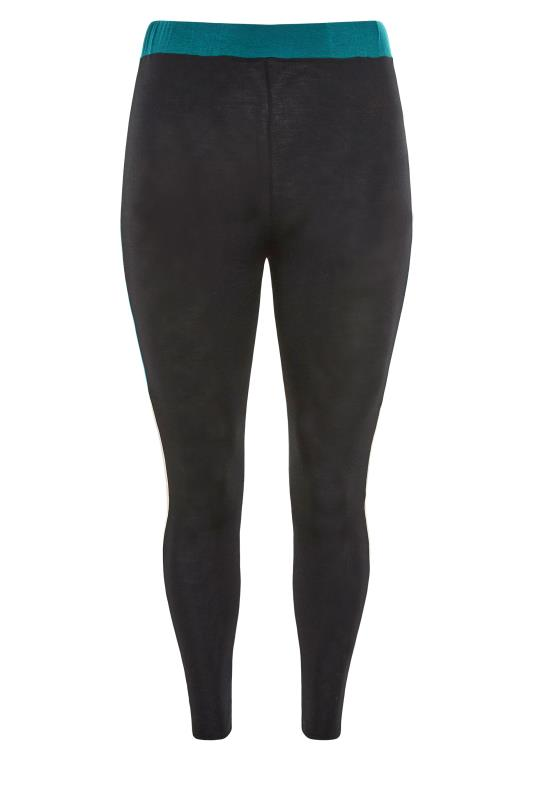 LIMITED COLLECTION Black & Teal Colour Block Leggings_F.jpg