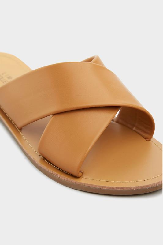 LIMITED COLLECTION Tan Cross Strap Mules In Extra Wide Fit_D.jpg