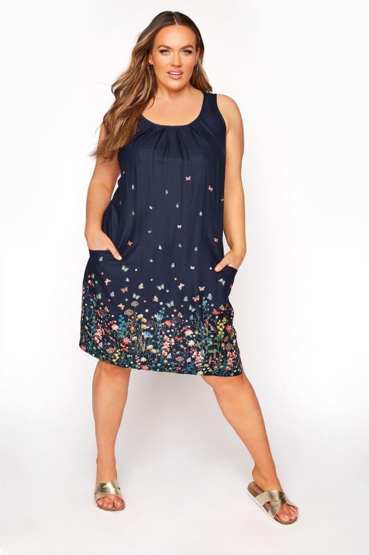 Plus Size  Navy Floral Drape Pocket Shift Dress