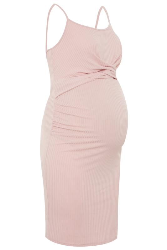 BUMP IT UP MATERNITY Pink Ribbed Twist Bodycon Midi Dress