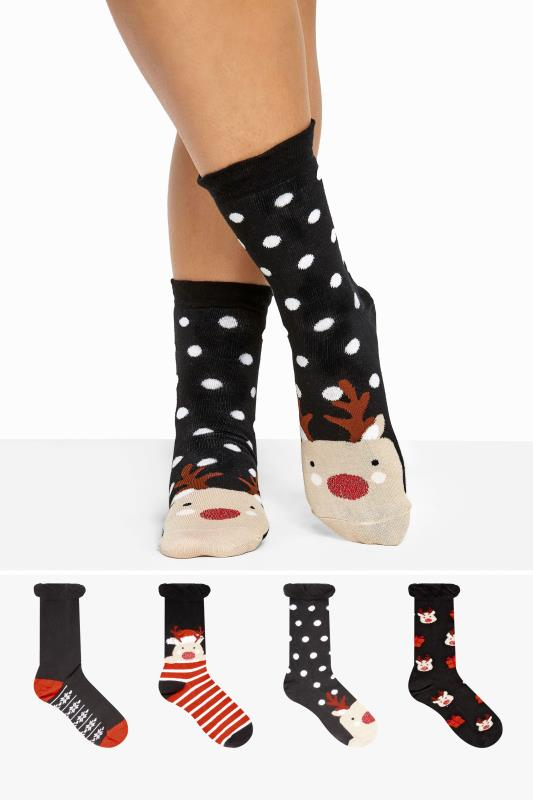 Plus Size  4 PACK Navy Reindeer Socks