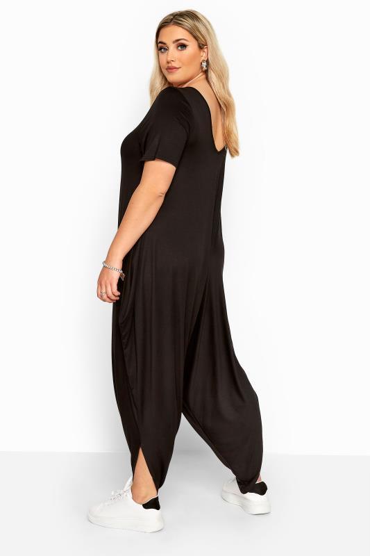 Black Short Sleeve Harem Jersey Jumpsuit