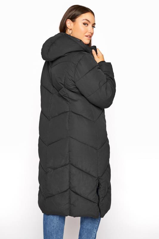 Plus Size  Black Longline Hooded Puffer Coat