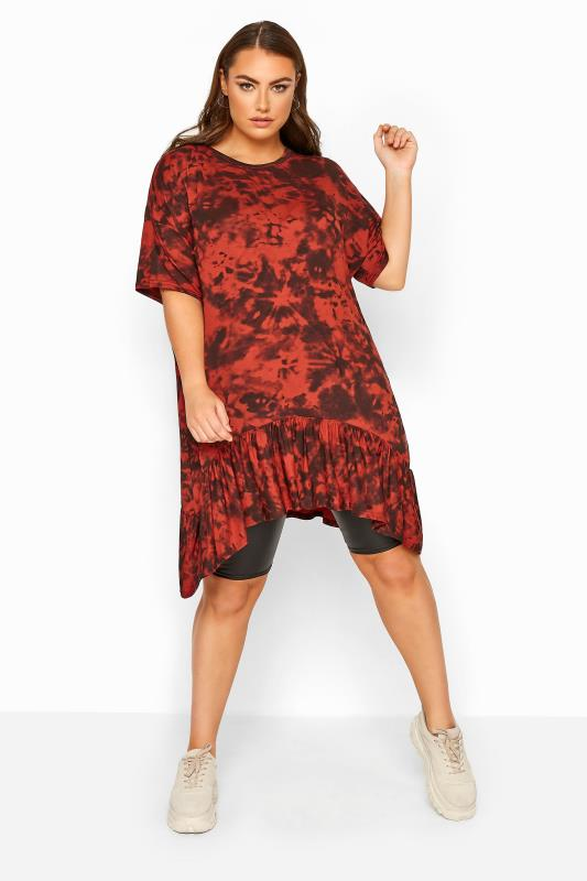 Plus Size Jersey Tops LIMITED COLLECTION Rust Tie Dye Hanky Hem Top