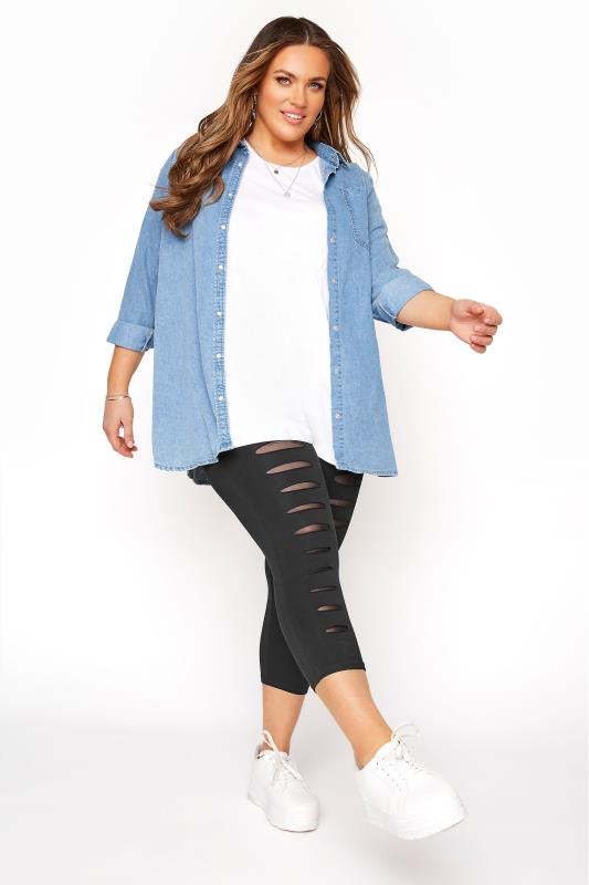 Plus Size Cropped & Short Leggings Black Ripped Mesh Insert Cropped Leggings