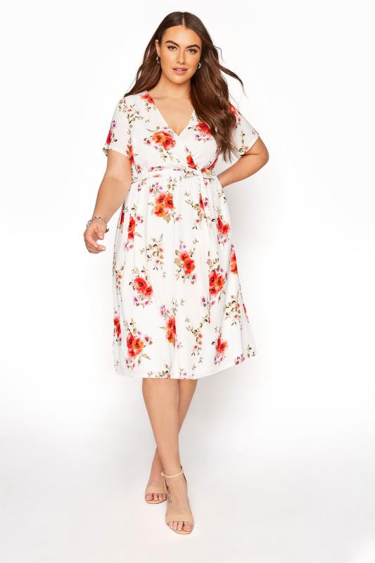 Großen Größen  YOURS LONDON Orange Floral Short Sleeve Wrap Dress