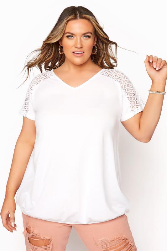 Plus Size  White Lace Sleeve Bubble Hem Top