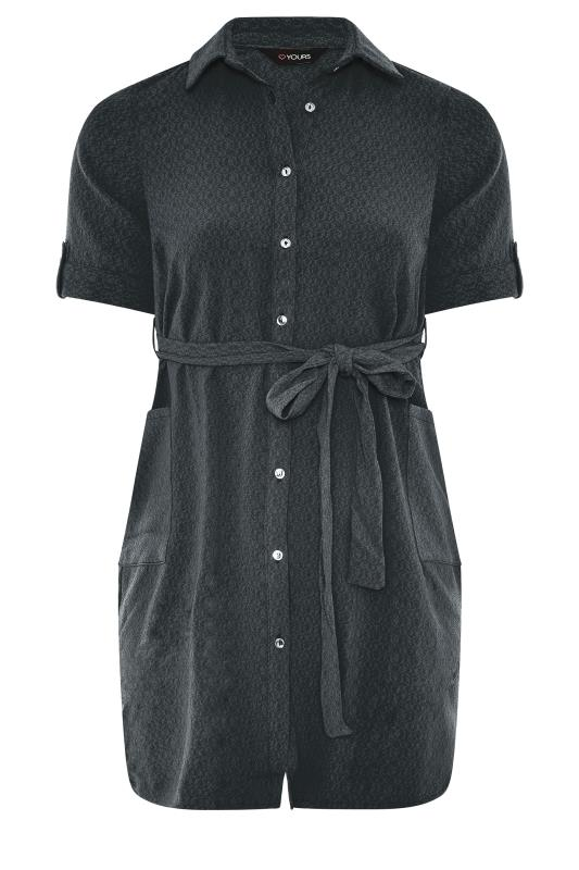 Großen Größen  Charcoal Grey Belted Shirt Dress