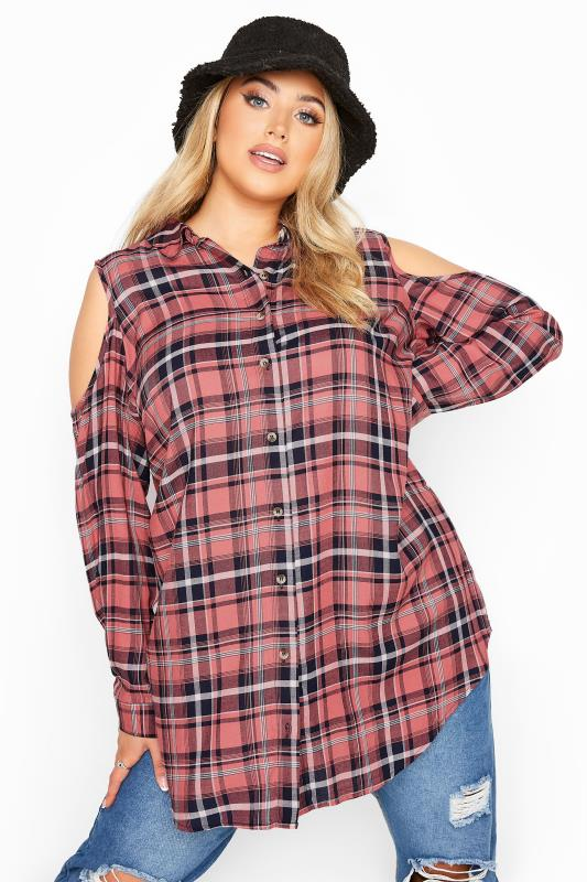 Plus Size  LIMITED COLLECTION Pink Check Cold Shoulder Shirt