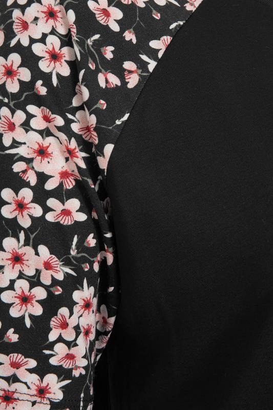 Black Raglan Floral Sleeve T-Shirt_S.jpg