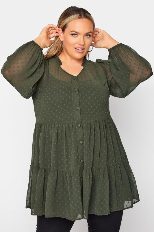 Plus Size  Forest Green Dobby Chiffon Smock Shirt