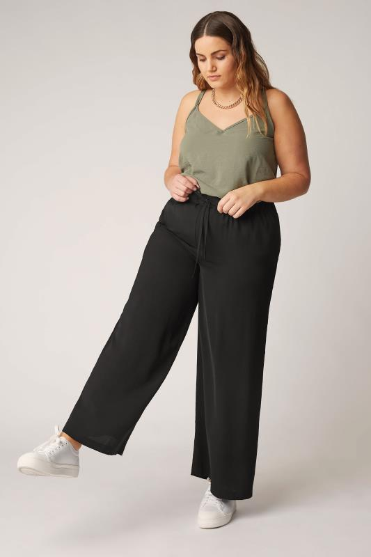 THE LIMITED EDIT Black Wide Leg Trousers_A.jpg