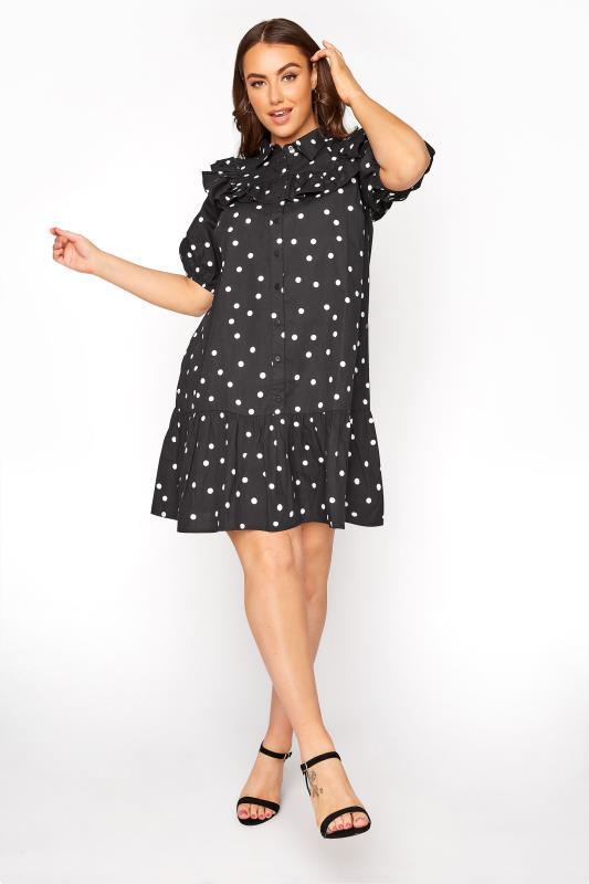 Grande Taille Black Frill Polka Dot Cotton Shirt Dress