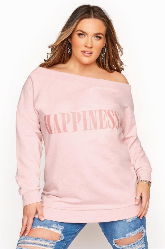 Pink One Shoulder 'Happiness' Slogan Sweatshirt