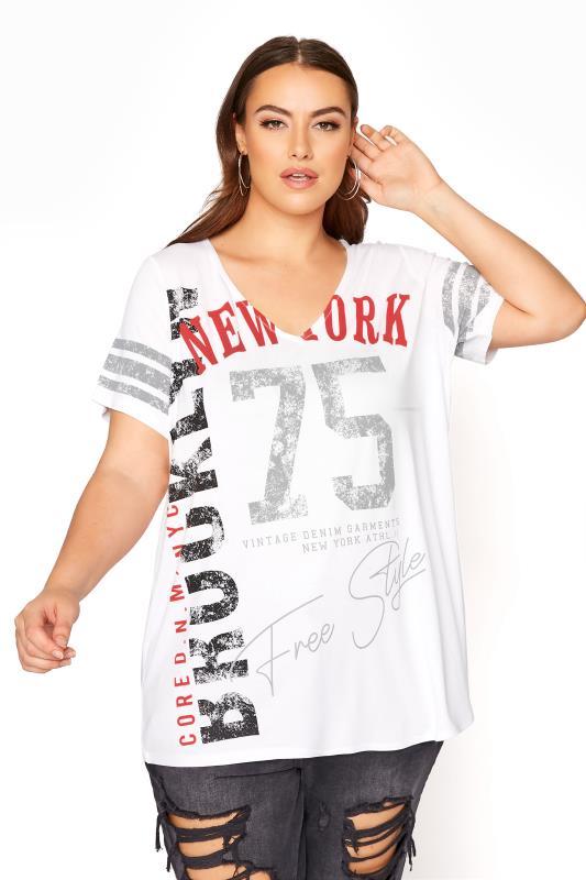 Plus Size  White Printed V-Neck T-Shirt