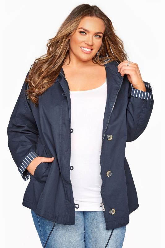 Plus Size  Dark Blue Contrast Parka Jacket