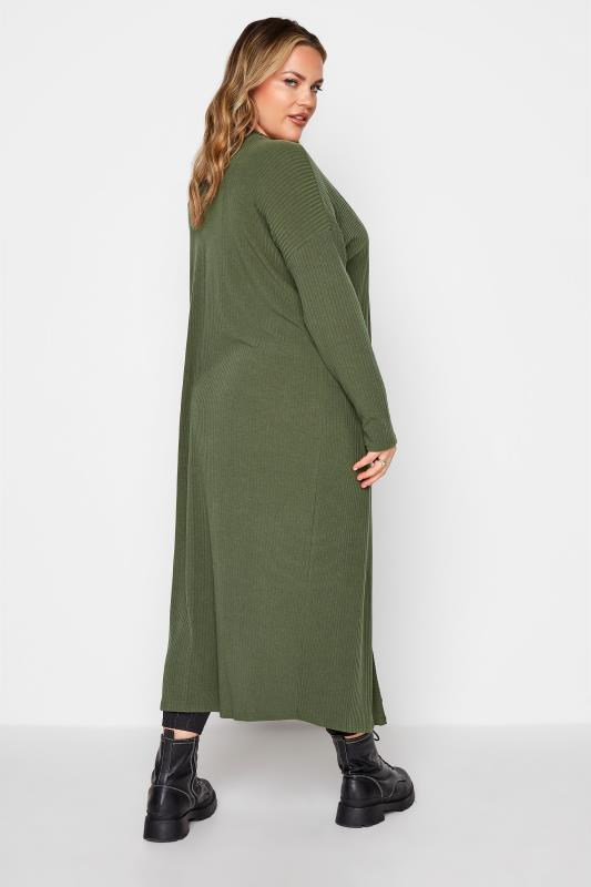 LIMITED COLLECTION Khaki Ribbed Longline Cardigan_D.jpg