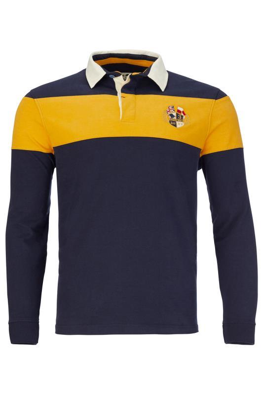 Men's  RAGING BULL Navy & Yellow Colour Block Polo Shirt