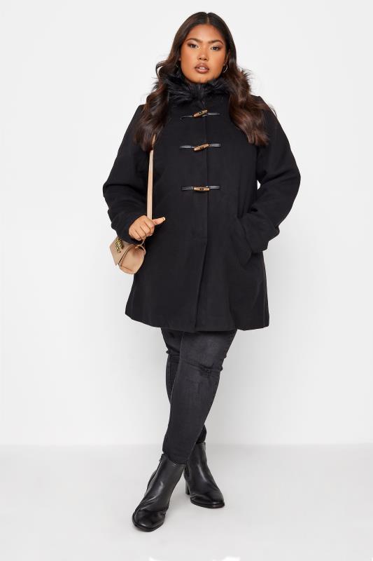 Grande Taille Black Faux Fur Trim Duffle Coat