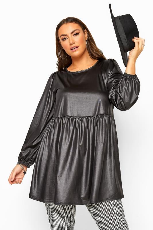 Black PU Leather Look Balloon Sleeve Smock Tunic