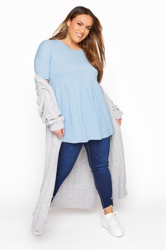 Pastel Blue Drop Shoulder Peplum Tunic