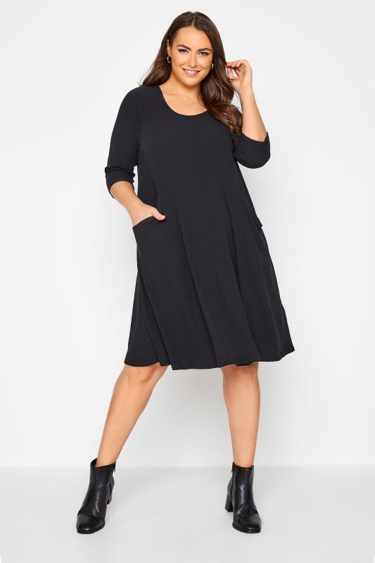 Grande Taille Black Ribbed Drape Pocket Dress