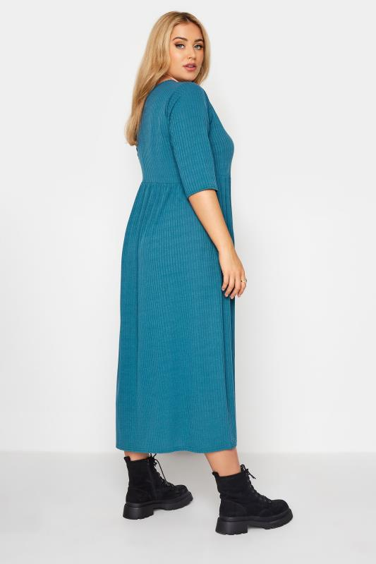 LIMITED COLLECTION Blue Ribbed Midi Dress_C.jpg