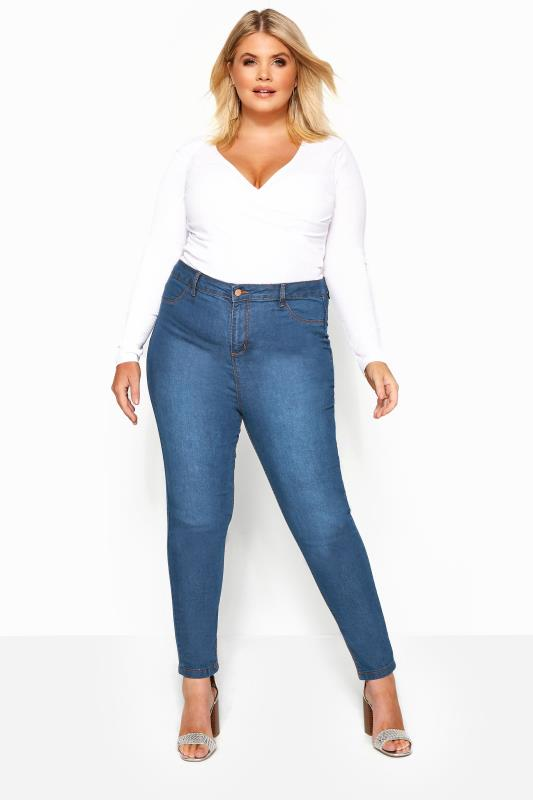 Skinny Jeans Tallas Grandes Mid Blue Super High Rise KIM Skinny Jeans
