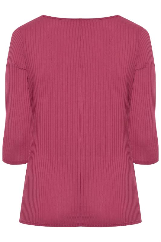 BUMP IT UP MATERNITY Bright Pink Ribbed Front Twist Top