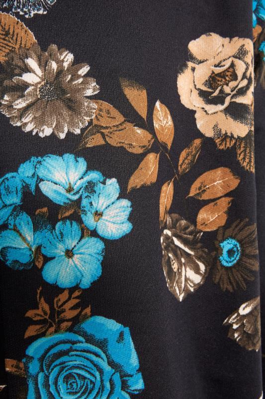 Black Floral Print Quarter Zip Hoodie_S.jpg