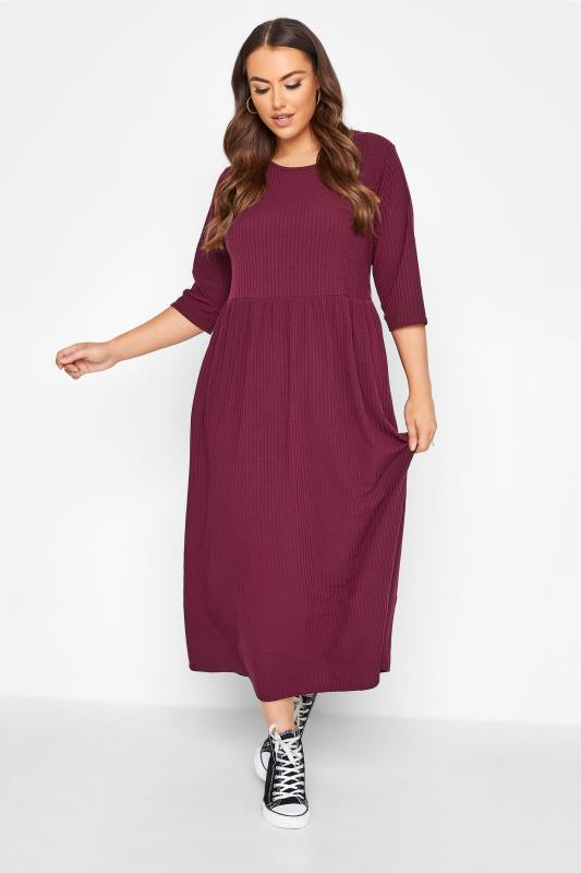 Großen Größen  LIMITED COLLECTION Berry Red Ribbed Midi Dress