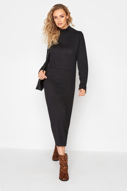 LTS Black Knitted Roll Neck A-Line Midi Dress_B.jpg