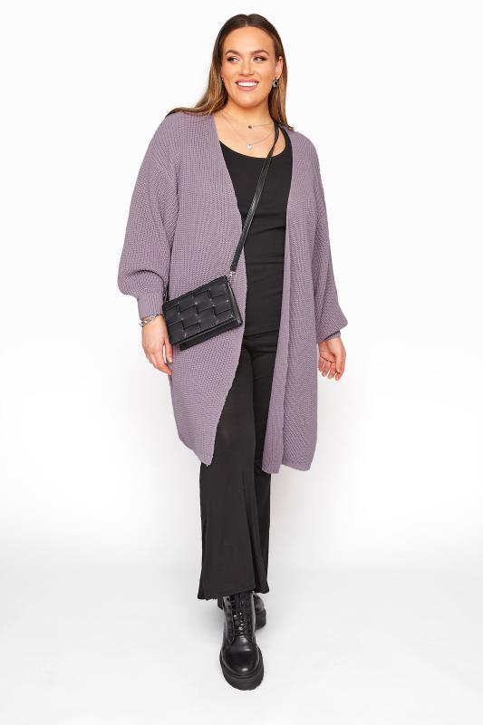 Mauve Purple Oversized Balloon Sleeve Knitted Cardigan