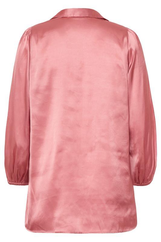 Rose Pink Satin Balloon Sleeve Shirt